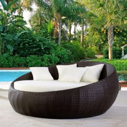 Patio Furniture Outdoor Lawn Backyard Poolside Garden Round with Retractable Canopy Wicker Rattan Round Daybed, Seating Separates Cushioned Seats (Without Table