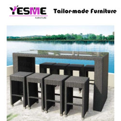 Modern Rattan Dining Chair Set Bar Outdoor Garden Table High Chair