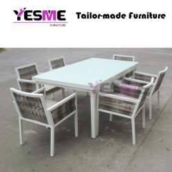 Modren Aluminum Long Table Garden 6 Chairs Dinning Furniture Set