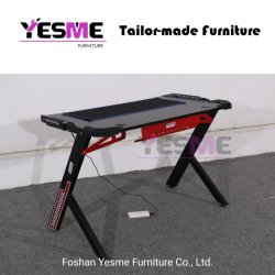 Yesme Furniture Gaming Desk with LED Light for Office Home School Internet Bar E-Sport