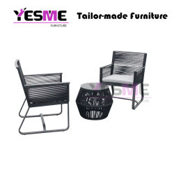New Popular Stackable Modern Outdoor Leisure Rattan Rope Garden Hotel Home Furniture Aluminum Chair Dining Chair