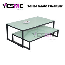 Different Size End Table Living Room Metal Furniture Centre Temered Glass Side End Coffee Table