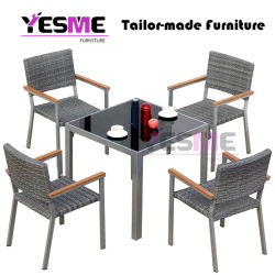 Modern Leisure Outdoor Furniture Garden Aluminum Dining Table and Chairs