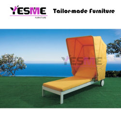 Aluminum Sun Lounger and Sunbed Resort Style Large Balcony Garden Outdoor Chaise Lounge with Canopy