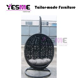 Outdoor Leisure Garden Home Black Wicker Rattan Hanging Swing Egg Chair
