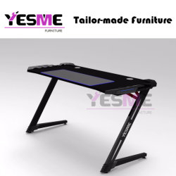 Chinese Gaming Desk Office Computer Table PC High Quality Powder Coating Metal Study Easy Desk with LED Mouse Pad Free Customize Any Size