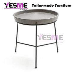 Poolside Powder Coated Aluminum Cement Table Top Round Side Table Outdoor Indoor Coffee Table