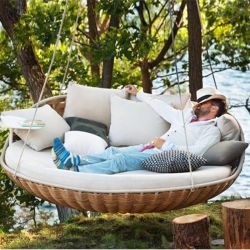 Luxury Wicker Hanging Chair Swing Chair Patio Egg Chair UV Resistant Soft Deep Fluffy Cushion Relaxing Large Basket Porch Lounge