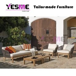 Outdoor Teak Wood Furniture Patio Sectional Rattan Wicker Garden Sofa