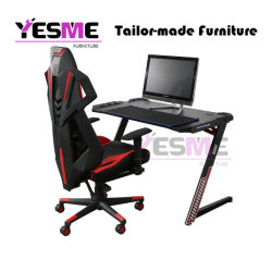 Gaming Computer Office Study Easy Desk with LED Light Z Shape R Shape T Shape Table