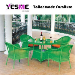 Garden Outdoor Green Rattan Furniture Table and Chair Wicker Dining Set