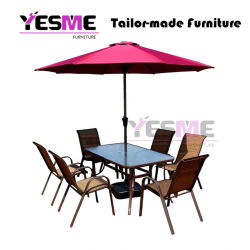 Outdoor Garden Hotel Commercial Furniture Aluminum Dining Set /Rattan Chairs Aluminum Table Dining Table Set