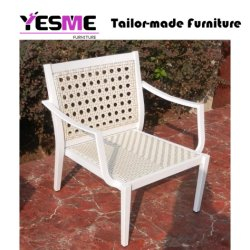 Outdoor Wicker Furniture White Synthetic Rattan Garden Chair