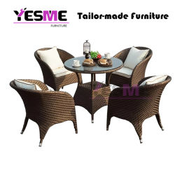 Garden Wicker Patio Outdoor Furniture Dining Table and Chair