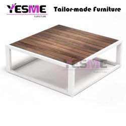 Poolside Powder Coated Aluminum Wood Table Top Round Sida Table Outdoor Indoor Coffee Table